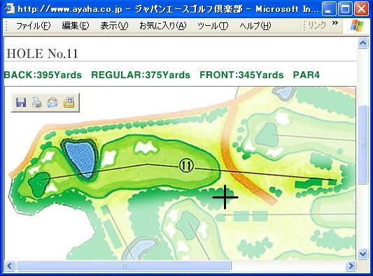 Map of the eleventh hole and the target point.