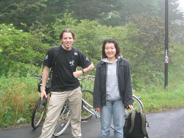 Parked our bikes to begin the short hike (me left, Akiko right)