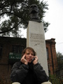 #4: Me on the phone to the captain in front of the monument to Klavdievich.  This is where all hope ended.