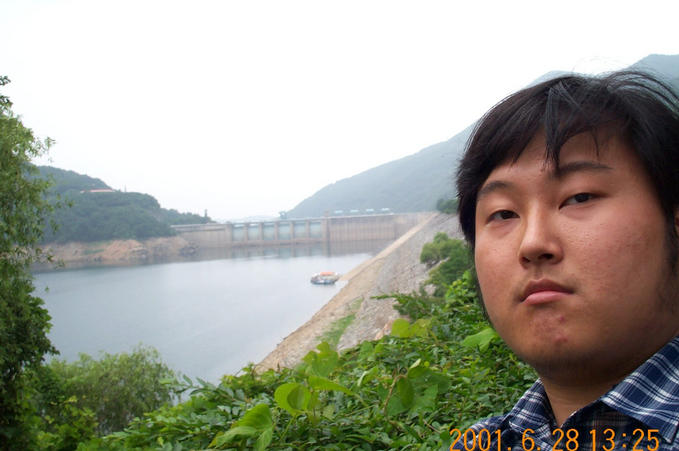 Looking north; the dam in the background behind me is the Chungju Multi-Purpose Dam.