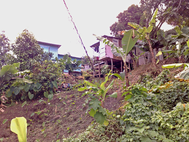 Houses dug into the steep hills