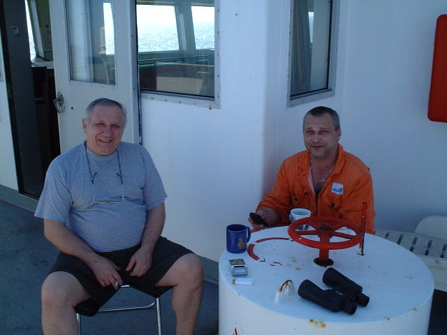 Chief Engineer Kokorev and Reefer Engineer Kovalenko with their necessary equipment
