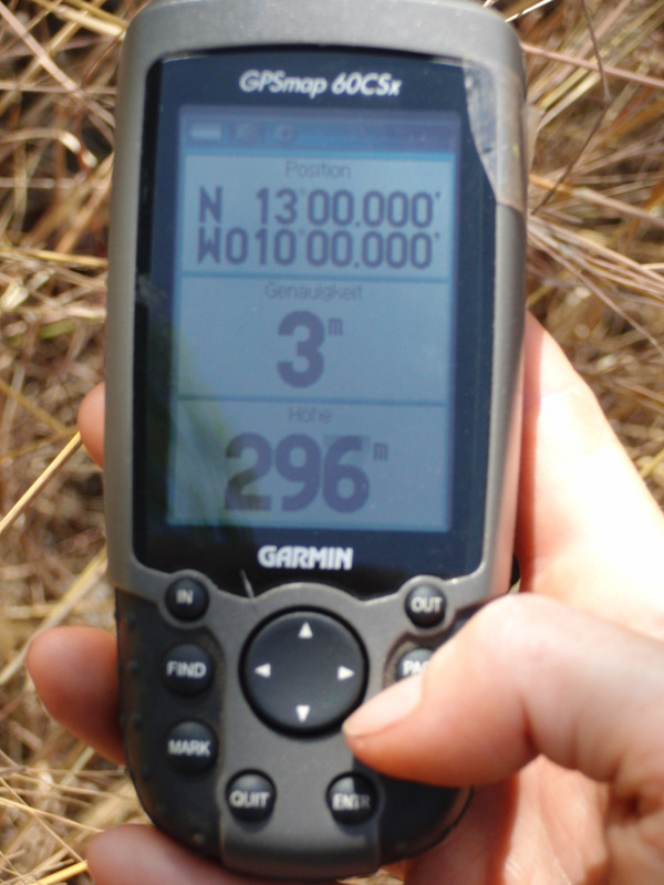 GPS zero in the shrub forest