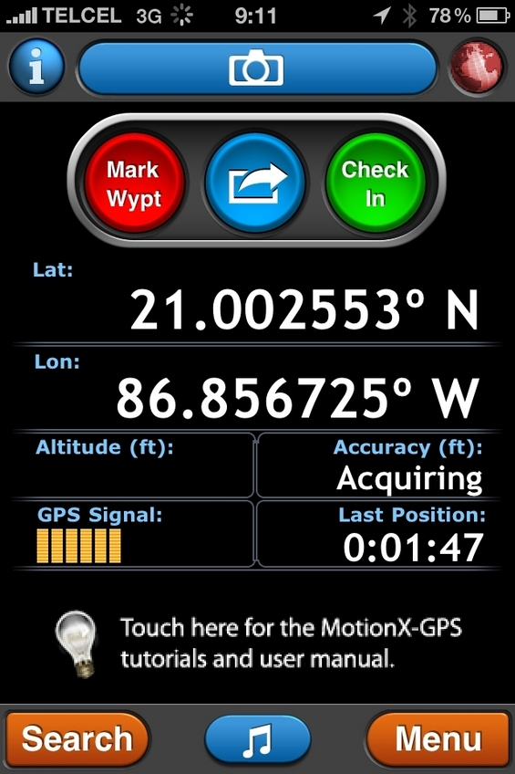 GPS reading from smartphone near confluence.