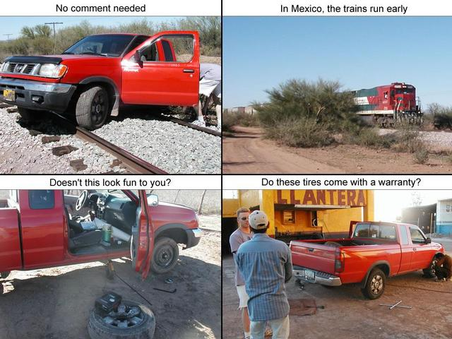 truck, train, and tires