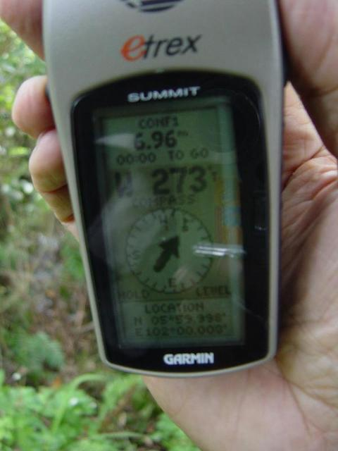 Garmin eTrex Summit showing the coordinates