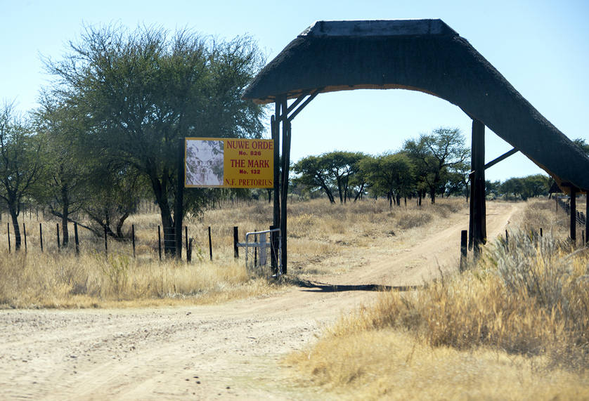 Entrance gate to the farm 'The Mark'