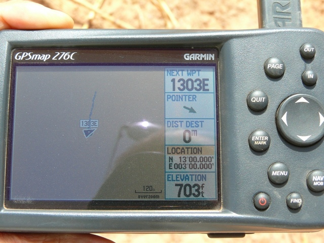 The GPS with the zeroes showing