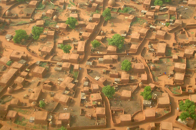 Aerial view of a Hausa village in the area
