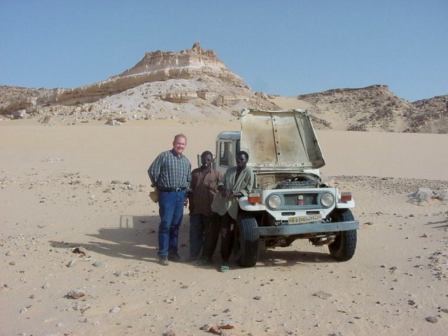 Jim the pilot with Seydou and the truck at the base
