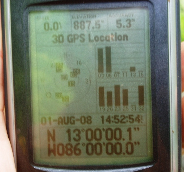GPS screen at 13N 86W