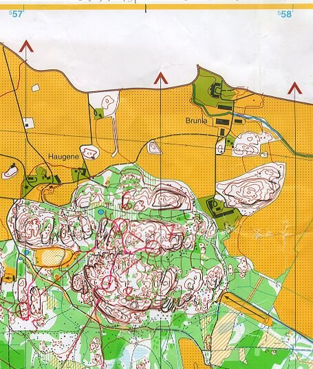 The Rakke orienteering map covers the area