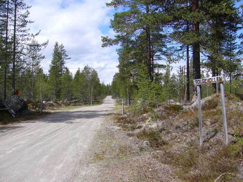 "Leave the main road and follow this ""Tolgevollen"" forest road"