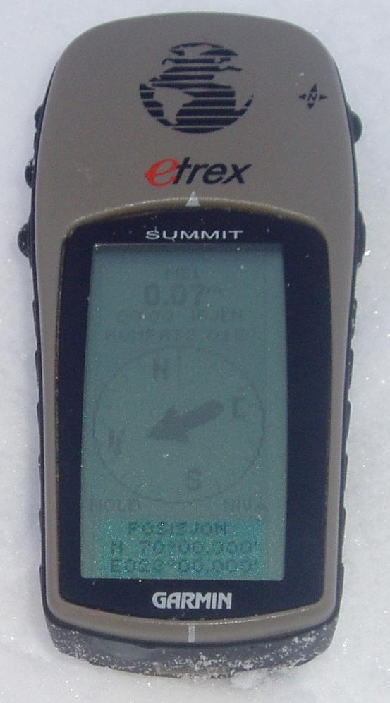 The GPS placed right on the crusty snow surface