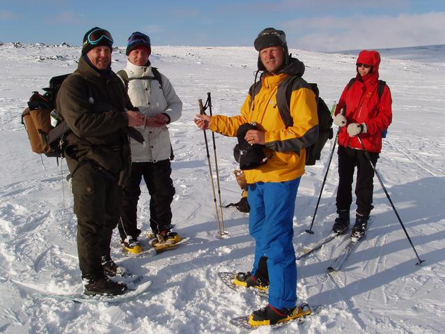 The Finnish ice fishers, Vesa, Harri and Jarkko on Dievajavvre lake close to Geinohyttan. Mari-Helena on skis.
