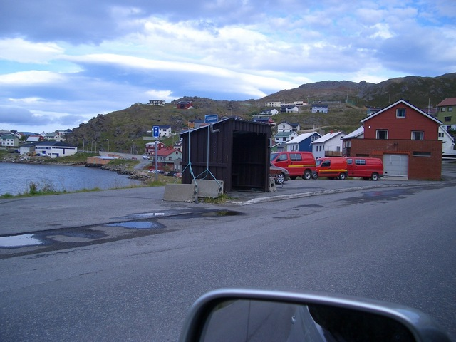 Anchored bus shelter in Honningsvåg