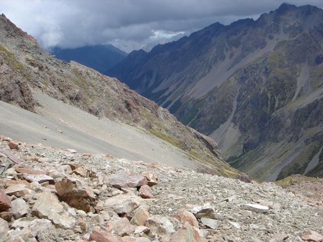 The confluence is on the scree slope about center frame