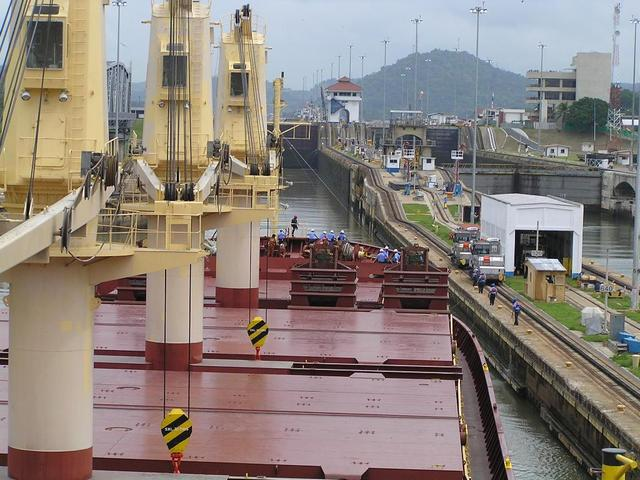 Entering the Miraflores Locks