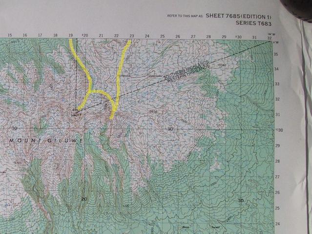 Topo map with our route in yellow, confluence point is in top-right corner.
