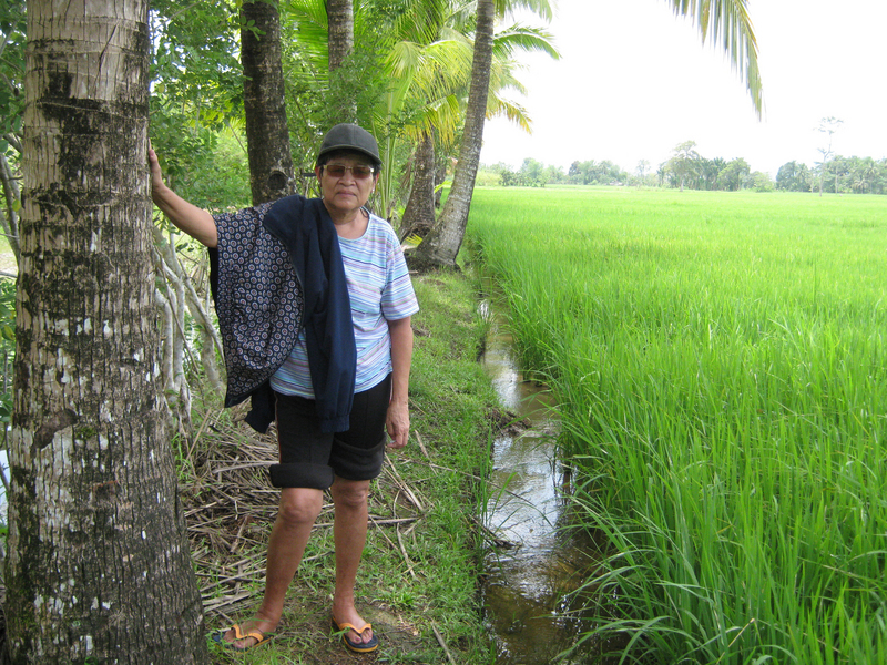 Santah near the confluence spot. Note lack of mud on her feet attesting that the rice paddies is not so deep