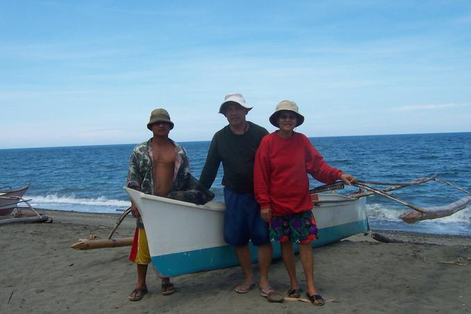 Rudy, Santah, Boatman and the flimsy boat