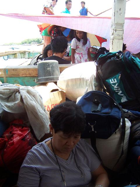 Santah among the cargo on our way to Cataingan from Calbayog.