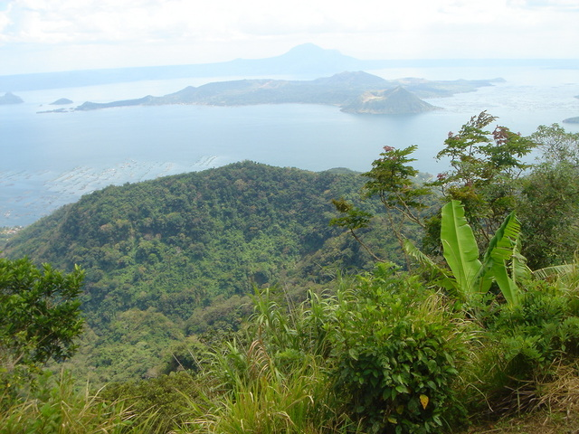 View of the Taal volcano from Tagaytay, Point is just over the back of island volcano.