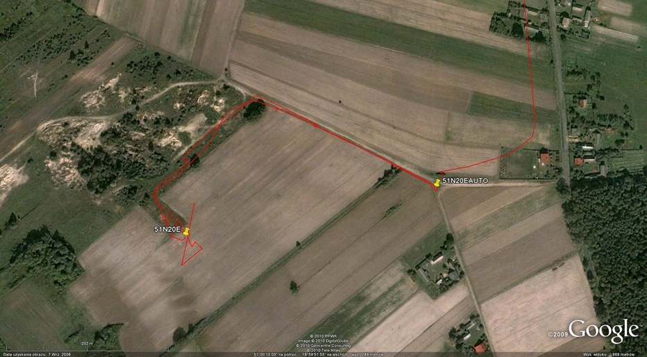My track on the satellite image (© Google Earth 2009)