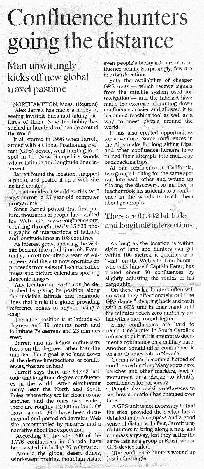 Toronto Star article (August 31, 2002)