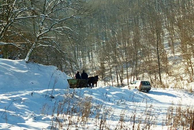 Local people on a horse-sleigh