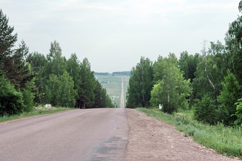The road, 1 km to the confluence