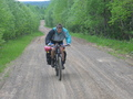 #8: Artem Sismekov at the road that runs as far as 700 metres from the confluence