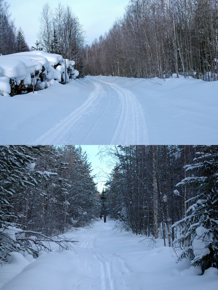 (Up) the road from Bereozovka, (Down) start skiing/Сверху – дорога от Березовки, внизу – начало пути