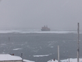 #8: Our ice breaker seen from the Sedov station a few hours later: it is snowing!