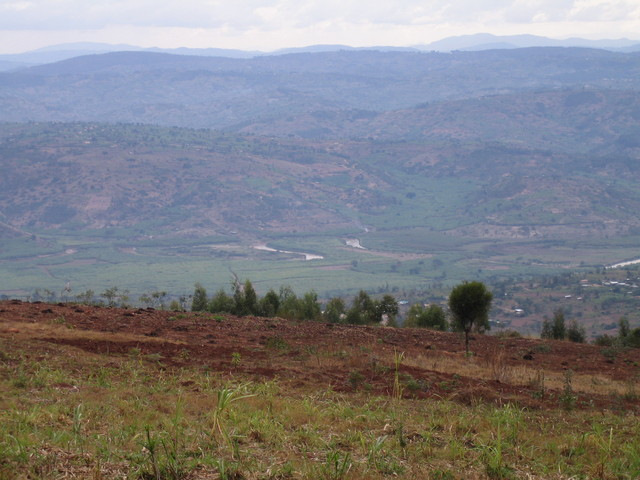 Looking towards the Confluence from Mt. Kigali