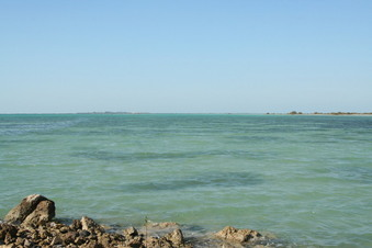 #1: Looking north-west towards the point, approximately 700 metres distant in the lagoon