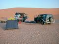 #10: Our campsite in the red Dahnā' dunes.