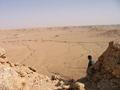 #3: The wide wādī that we walked across. Note the cars on top of the escarpment in the top left corner.