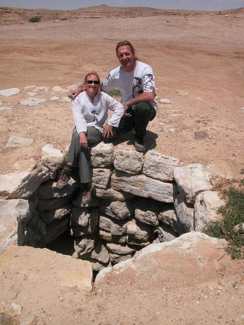 Lise and Marc near one of the ancient wells