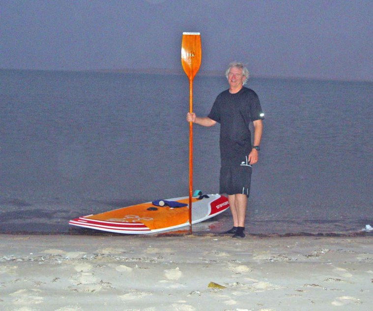 Windsurfing Star-board Start and vintage wooden kayak paddle, looking east towards Confluence and North Hill after sunset following the confluence visit.