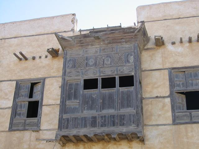 Woodwork on abandoned home in al-Wajh seafront