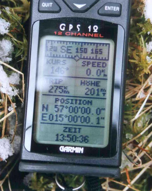the GPS showing the position