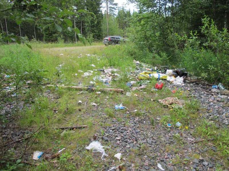 Rubbish near car park