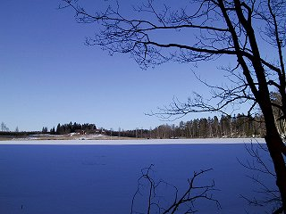 #1: View over the now frozen lake just below fishing cabin