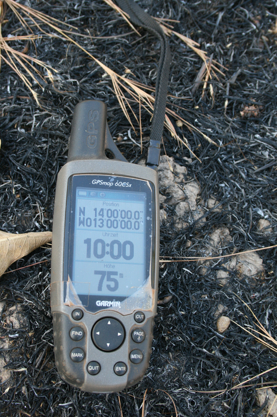 GPS on black coal spot from bushfire
