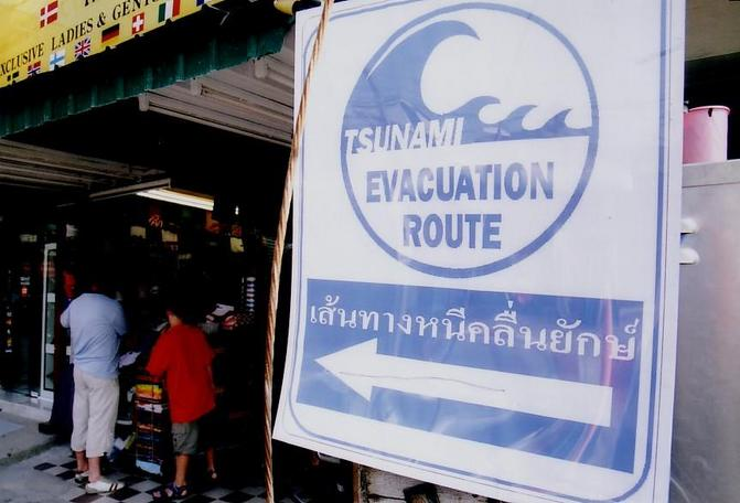 Tsunami evacuation sign in