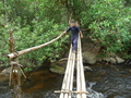 #4: Dit Ley crossing one of the bamboo bridges near the start of our journey.