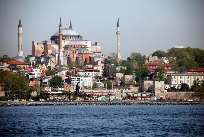 A close-up view of the Hagia Sophia - view toward the West