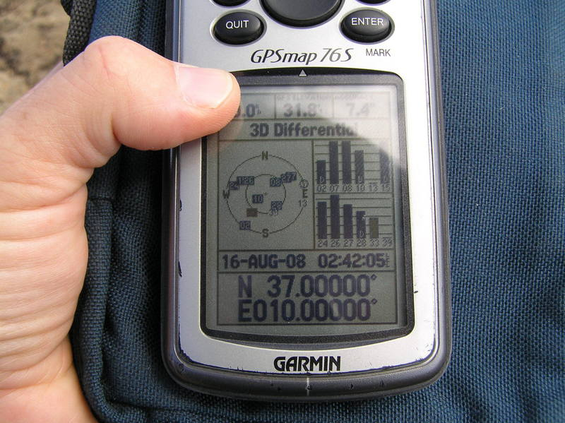 GPS reading at my first Confluence in Africa.