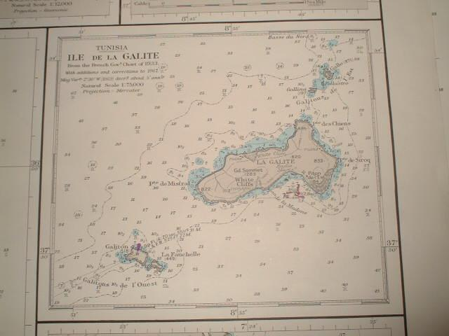 The Îles de la Galite on the sea chart